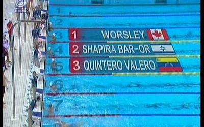 Israeli swimmer Nimrod Shapira Bar-Or finished second in his men's 200m freestyle qualifying heat on Sunday. (photo credit: Image capture from Channel 1)