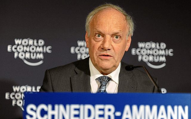 Swiss economic chief Johann N. Schneider-Ammann speaking in 2011. (photo credit: CC-BY World Economic Forum/Michael Wuertenberg, Flickr)
