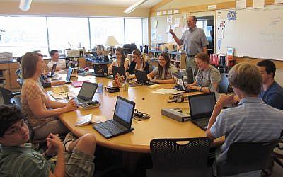 Illustrative photo of Jewish teens at school (Ben Sales/JTA)