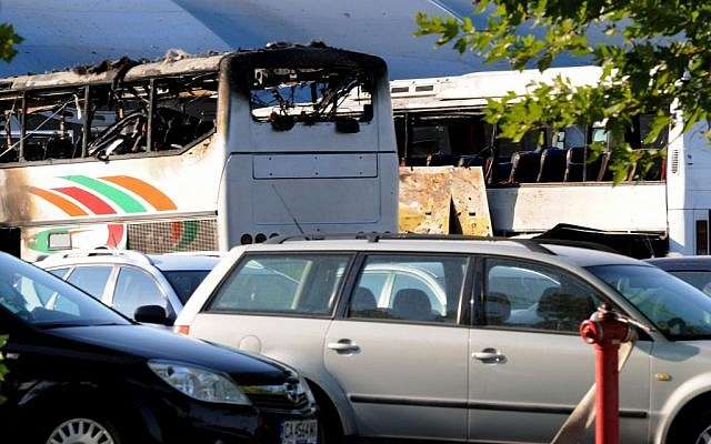 Destroyed buses are seen at Burgas airport on Wednesday (photo credit: AP Photo/Bulphoto Agency)