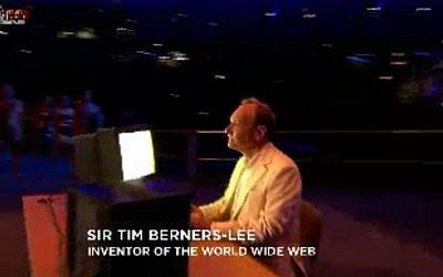 The Olympics pay tribute to the inventor of the World Wide Web (image capture Channel 1)