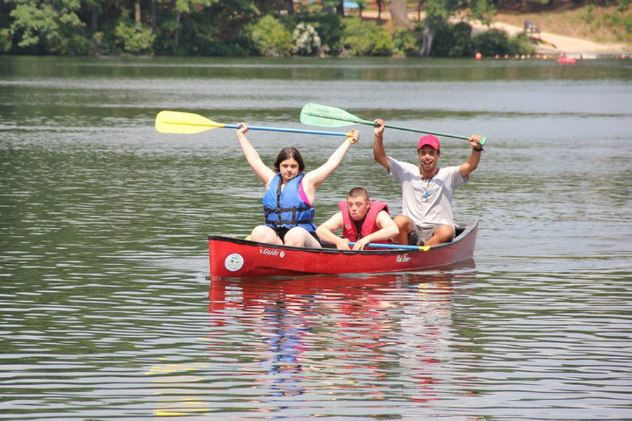 Canoers in the Tikvah program at Camp Ramah in Palmer, Mass., which accommodates youngsters with special needs. (photo credit: Camp Ramah/JTA)