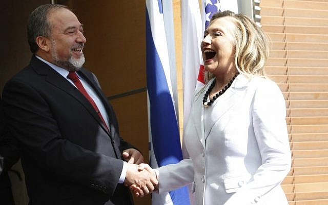 Foreign Minister Avigdor Liberman meets with then US secretary of state Hillary Clinton at the Foreign Ministry in Jerusalem, on July 16, 2012 (photo credit: Miriam Alster/Flash90)