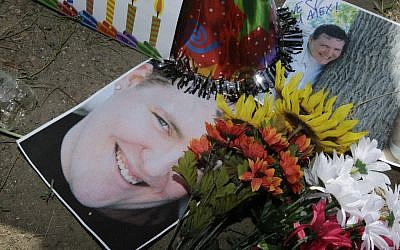 A memorial for Alex Sullivan, killed when a gunman stormed a Colorado movie theater on Friday. (photo credit: AP/Ted S. Warren)