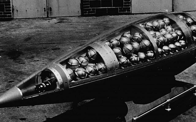 A sarin gas chemical warhead for the US Honest John rocket. It was designed to break apart and disperse the spherical bomblets of nerve agent. (photo credit: Public domain via Wikimedia Commons)