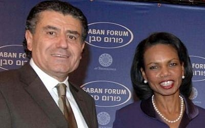 US television and media proprietor Haim Saban with US Secretary of State Condoleezza Rice, during the Saban Forum in Jerusalem, November 2007. (photo credit: FLASH90/Moshe Milner)