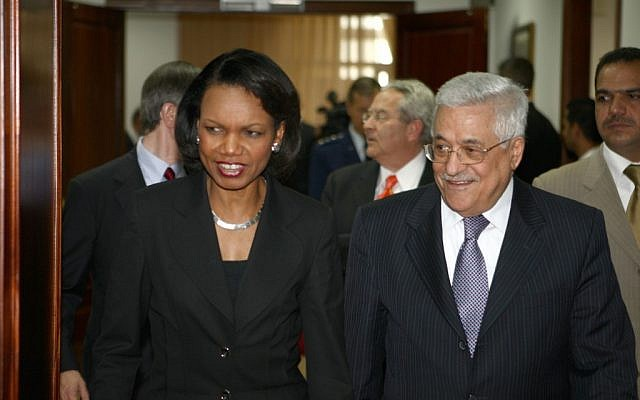 Palestinian Authority President Mahmoud Abbas hosts US Secretary of State Condoleezza Rice in Ramallah on June 15, 2008 (photo credit: Omar Rashidi/Flash90)