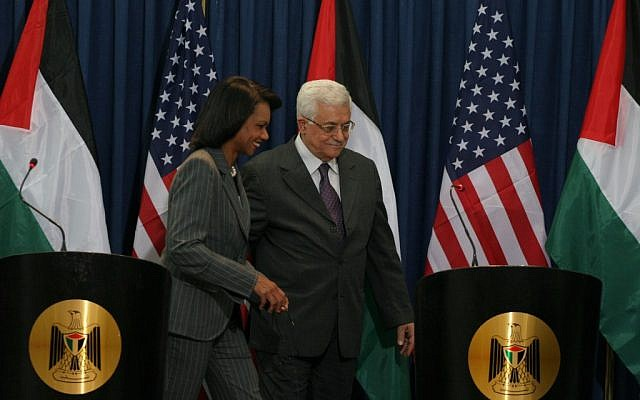 Condoleezza Rice, secretary of state, with Abbas in Ramallah in 2008. (photo credit:  Issam Rimawi/Flash 90)