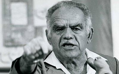 Yitzhak Shamir gestures as he speaks in 1985. (photo credit: Moshe Shai/Flash90)