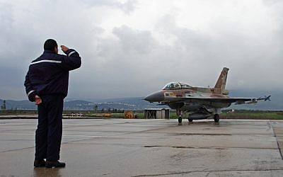 Saluting the takeoff of a jet from the Ramat David air force base (photo credit: Ofer Zidon/Flash90)