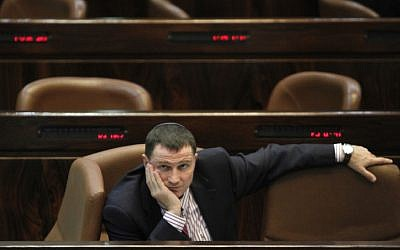 Minister for Public Advocacy and Diaspora Affairs Yuli Edelstein attends a plenum session in the Israeli parliament in July 2011. Edlestein's personal website was hacked on 31 July 2012 and anti-Israel abuse posted by hackers claiming to be from Gaza. (photo credit: Miriam Alster/Flash90)