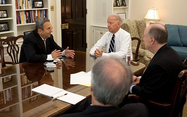 US National Security Advisor Tom Donilon (right) with Defense Minister Ehud Barak (left), and US Vice President Joe Biden, in the West Wing, Washington DC, July 2011. (photo credit: David Lienemann/White House/FLASH90)