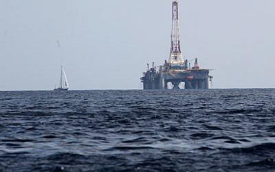 A gas drill off the coast of Malta (photo credit: Nati Shohat/Flash90)