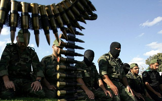 Hamas militants pray in Rafah, October 2011 (photo credit: Abed Rahim Khatib/Flash 90)