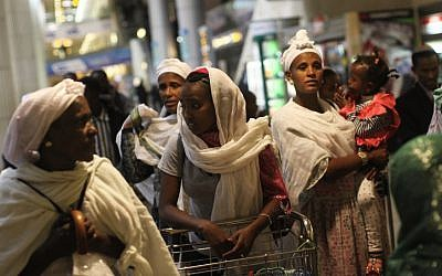 Ethiopian immigrants arrive at Ben-Gurion Airport in December 2011. (photo credit: Kobi Gideon/Flash90)