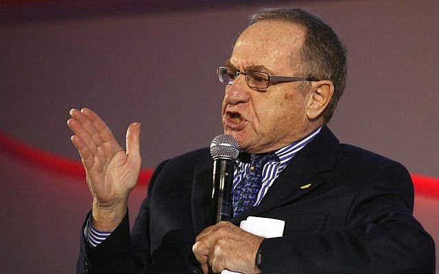 Alan Dershowitz hosts ILTV's 'One on One' program (photo credit: Gidon Markowicz/Flash90)