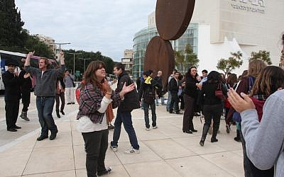 Dafna Leef and other protests last January at the Habima plaza (photo credit: Roni Shutzer/Flash 90)