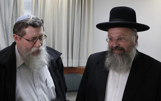 Rabbi Shmuel Eliyahu, right, and MK Yaakov Katz, January 19, 2012 (photo credit: Uri Lenz/Flash90)