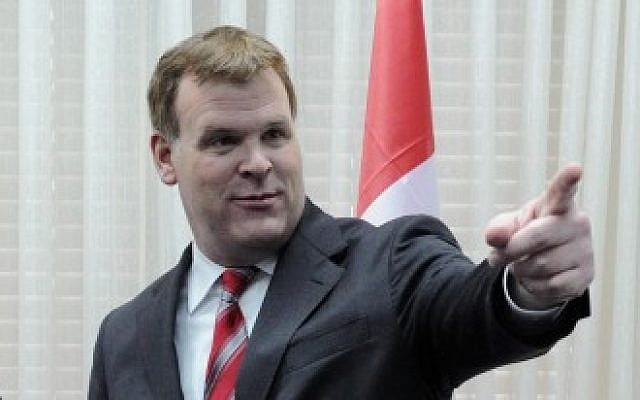 Canadian Foreign Minister John Baird, seen here during a visit to Israel in February 2012 (photo credit: Ariel Hermoni/Ministry of Defence/Flash90)
