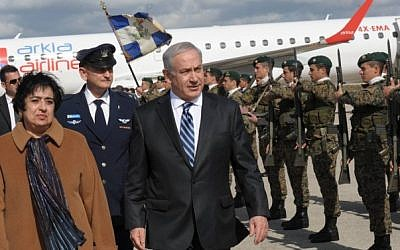 Prime Minister Benjamin Netanyahu with Erato Kozakou Marcoullis, the foreign minister of Cyprus, during his visit to the island country in February (photo credit: Amos Ben Gershom/Flash90/GPO)