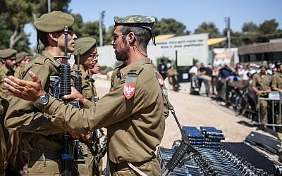 At the swearing-in ceremony of the haredi IDF unit (photo credit: Noam Moscowitz/Flash90)