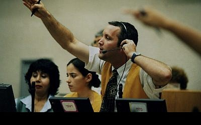 A broker at the Tel Aviv Stock Exchange (photo credit: Moshe Shai/Flash90)