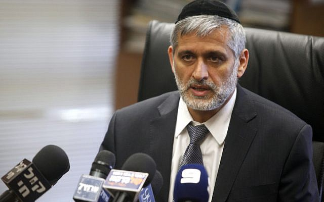 Interior Minister Eli Yishai speaks during a Shas party meeting at the Knesset in June (photo credit: Yonatan Sindel/Flash 90)