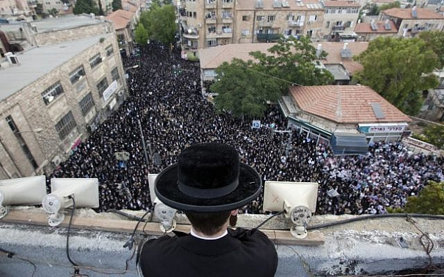 A rally last year against drafting ultra-Orthodox men into the army (Photo credit: Yonatan Sindel/ Flash90)