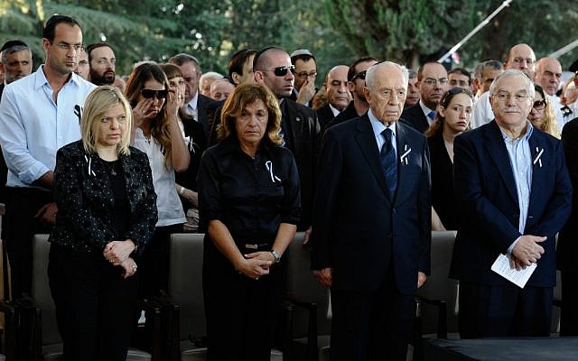 Gilada Diamant (second from left) at the funeral of her father, former prime minister Yitzhak Shamir, on Monday. (photo credit: Omer Miron/ Pool/Flash90)