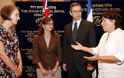 Ankie Spitzer (right), meets with Andrea Faulkner (left), the Australian ambassador to Israel, Deputy Foreign Minister Danny Ayalon and Elana Romano on July 3. Australia is urging the International Olympic Committee for a moment of silence at the 2012 London Olympics remembering the 11 Israeli athletes and coaches who were murdered at the Olympics '72. (Photo credit: Miriam Alster/Flash90)