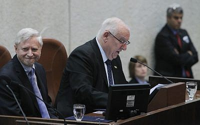 Judge Yosef Shapira (left) at his swearing in ceremony in the Knesset.  (photo credit: Miriam Alster/FLASH90)