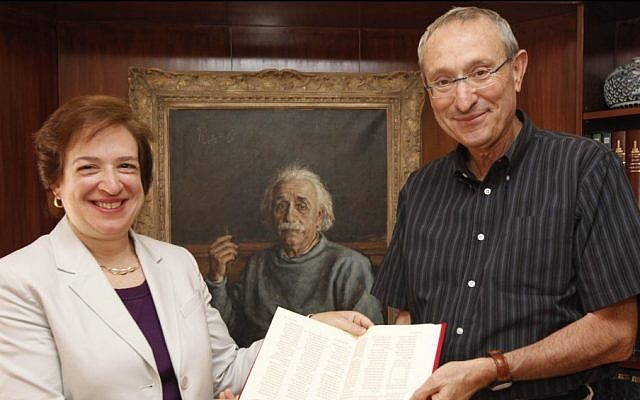 Hebrew University president Menahem Ben Sasson welcomes US Supreme Court Associate Justice Elana Kagan in his office. Kagan is one of two Jewish women on the court. (photo credit: Miriam Alster/Flash90)