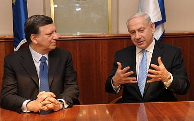 Prime Minister Benyamin Netanyahu and EU head Jose Manuel Barroso on Monday in Jerusalem (photo credit: Moshe Milner/GPO/Flash90)