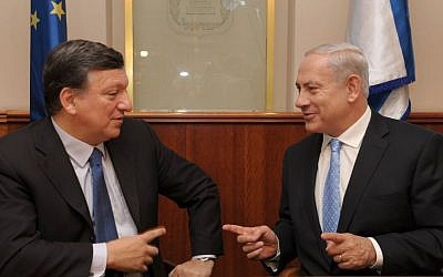Prime Minister Benjamin Netanyahu (right) with European Commission President José Manuel Barroso in Jerusalem on his recent visit to Israel (Photo credit: Moshe Milner/GPO/Flash90