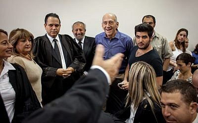 Olmert in the Jerusalem District Court on Tuesday. (Emil Salman/Pool/Flash90)