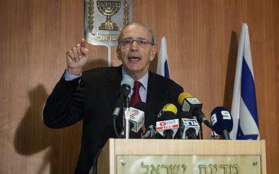 State prosecutor Moshe Lador holds a press conference at the Ministry of Justice on Tuesday, July 10 (photo credit: Uri Lenz/Flash90)