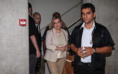 Sara Netanyahu arrives at the district Labor Court in Haifa on Sunday, July 15 (photo credit: Avishag Shar-Yashuv/Flash90)