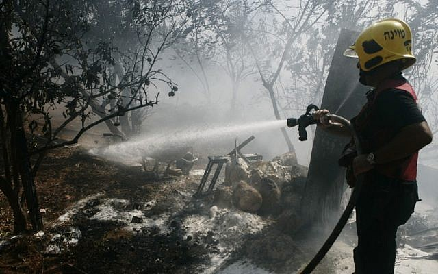 A firefighter battling the forest fire in Ein Hemed, just outside of Jerusalem on July 15, 2012. (photo credit: Uri Lenz/Flash90)