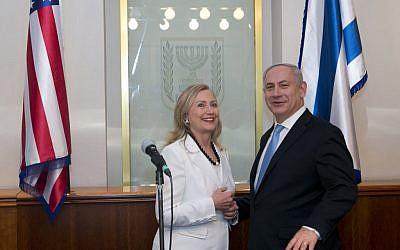 Hillary Clinton and Benjamin Netanyahu, July. (photo credit: Ohad Zwigenberg/Pool/Flash90)