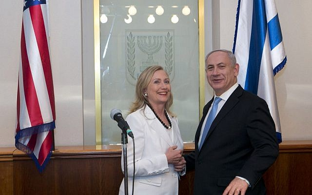 Hillary Clinton and Benjamin Netanyahu, July. (photo credit: Ohad Zwigenberg/Pool/Flash90)
