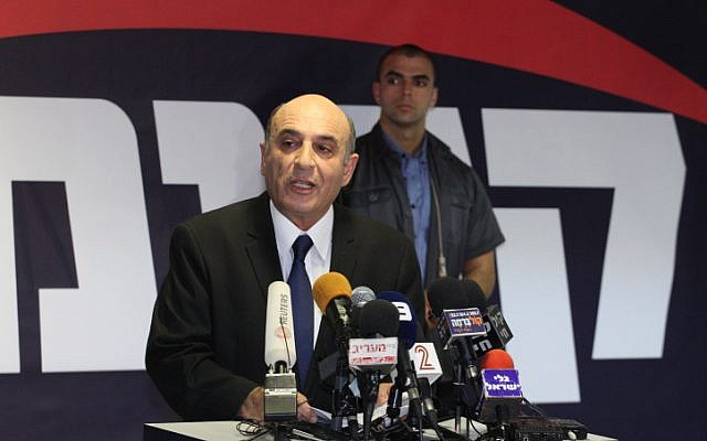 Kadima leader Shaul Mofaz speaking at a press conference at the party's headquarters July 17 (photo credit: Flash90)