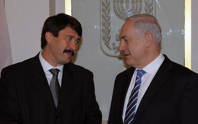 Prime Minister Benjamin Netanyahu with Hungarian President Janos Ader in Jerusalem on Tuesday (photo credit: Amos Ben Gershom/GPO/Flash90)