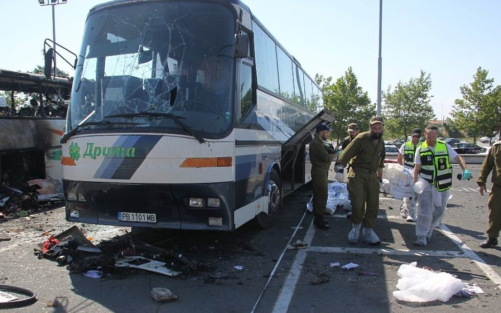 An Israeli ZAKA emergency rescue team at the site of the terrorist attack in Burgas, Bulgaria, on July 19, 2012 (photo credit: Dano Monkotovic/Flash90)