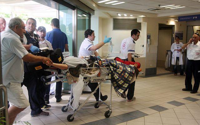 A man injured in the Burgas terror attack arrives in Soroka Hospital Thursday, July 19 (photo credit: Roni Schutzer /Flash90)
