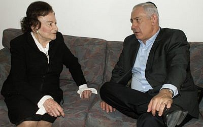 Miriam Ben-Porat meeting with Prime Minster Netanyahu after the death of Netayahu's father in May.  Ben-Porat died on Thursday at the age of 94 (photo credit: GPO/Flash90)