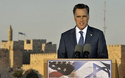 Republican US Presidential candidate Mitt Romney holds a press conference in Jerusalem Sunday, July 29, 2012 (photo credit: Yoav Ari Dudkevitch/Flash90)