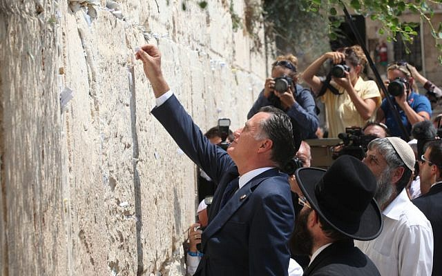 Mitt Romney during a visit to Jerusalem's Western Wall in July (photo credit: Yossi Zamir/Flash 90)