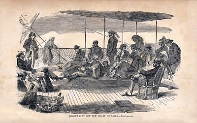 An illustration of passengers aboard the Quaker City off the coast of Beirut. The Quaker City was the steamship that brought Mark Twain to these 'desolate' shores. (Photo credit: Courtesy: National Library of Israel)