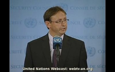 Haim Waxman (photo credit: screen capture from UN webcast)