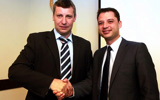Tourism Minister Stas Misezhnikov (left) met with his Bulgarian counterpart Delyan Dobrev in Jerusalem on July 30. (photo credit: Yossi Zamir/Tourism Ministry)